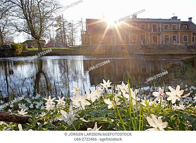 Sweden, Sodermanland, Duveholm, Back lit building by water