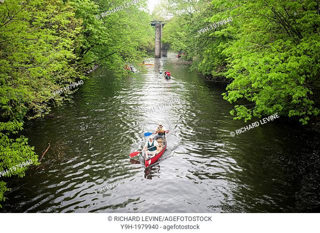 Members of the Bronx River Alliance and supporters participate in canoe races in the Bronx River in the New York borough of The Bronx during the 14th Annual...