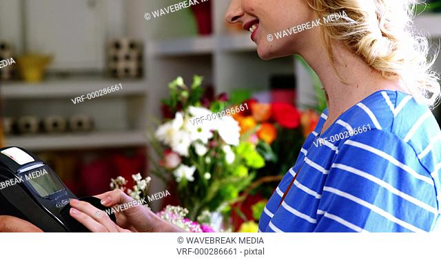 Costumer making payment through credit card