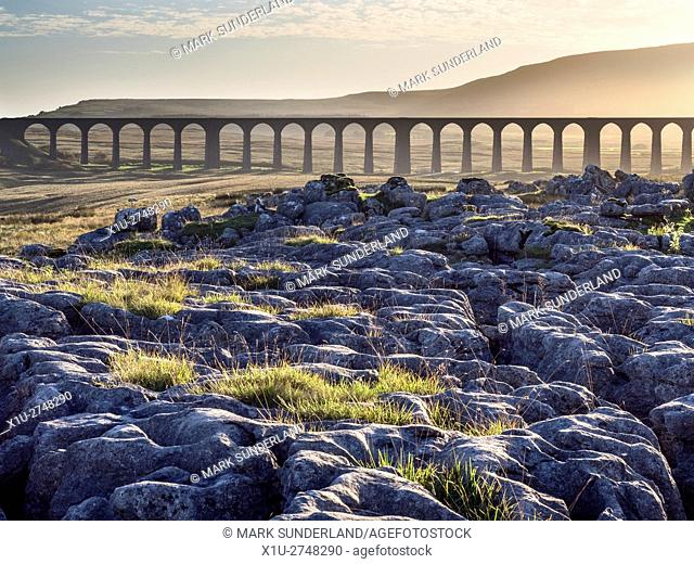 Ribblehead Viaduct at Sunset Ribblehead Yorkshire Dales England