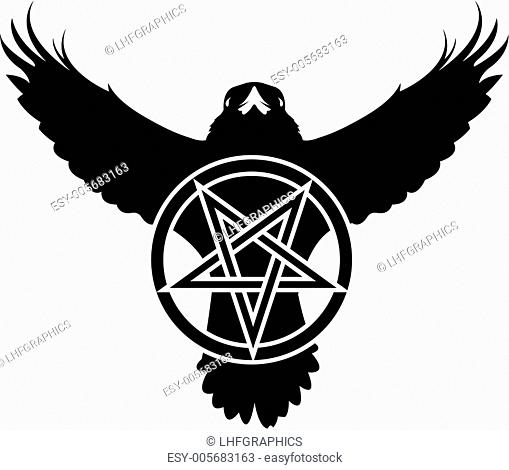 Raven and pentagram vector silhouette
