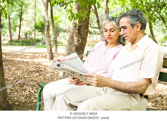 Mature couple sitting on a park bench and reading a newspaper, Lodi Gardens, New Delhi, India