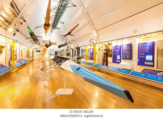 England, Oxfordshire, Henley-on-Thames, River and Rowing Museum, Display of Rowing Boats