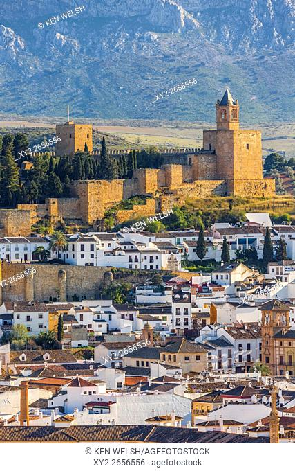 Antequera, Malaga Province, Andalusia, southern Spain. View across the town from the Vera Cruz hill to La Alcazaba (citadel or castle)