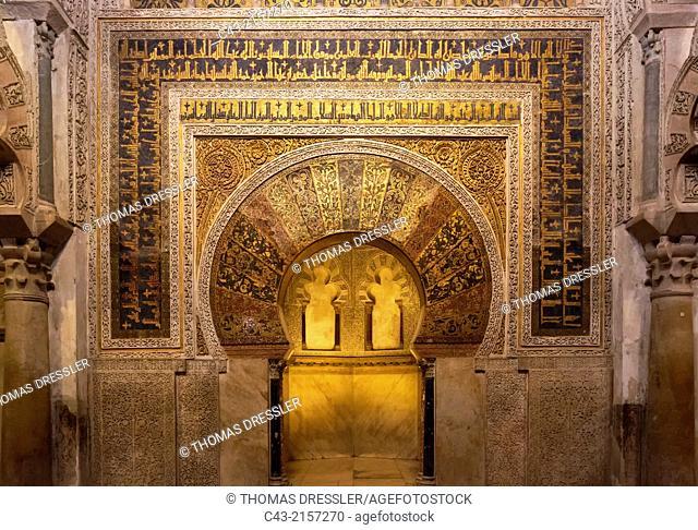 The Mihrab (prayer niche in a Moorish mosque) in the interior of Córdoba's world-famous Mezquita. Córdoba, Córdoba province, Andalusia, Spain