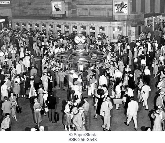 High angle view of a group of people at a railroad station, Grand Central Terminal, Manhattan, New York City, New York, USA