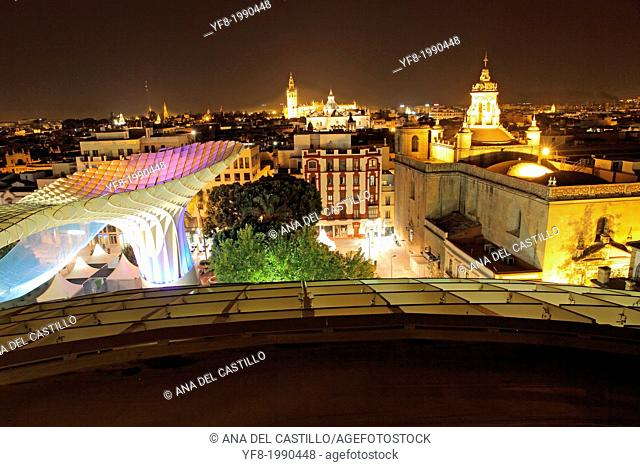 SEVILLE, SPAIN-OCTOBER: The Metropol Parasol in Seville, Spain, by Jurgen Mayer H. Architects, is the world's largest wooden structure