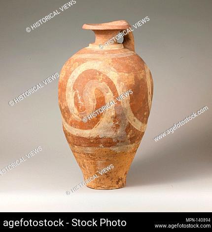 Terracotta jug with spirals. Period: Middle Minoan IIIB; Date: ca. 1700-1600 B.C; Culture: Minoan; Medium: Terracotta; Light-on-dark ware; Dimensions: Total...