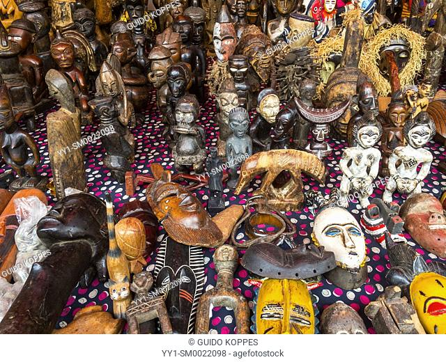 Paris, France, African Art Merchandise at a local Flee Market at Porte de Clignancourt attracts people and goods from all continents