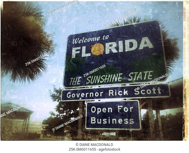 Welcome to Florida The Sunshine State sign at the Florida/Georgia border