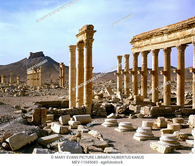 Palmyra, Syria - The Colonnade with view of Fakhr-al-Din al-Maani Castle