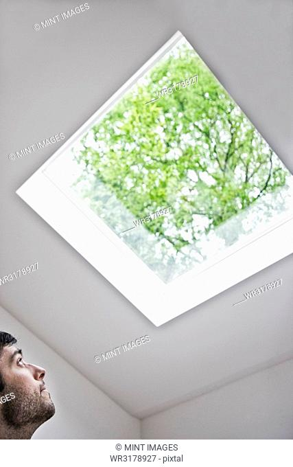 Hispanic man looking up at a skylight in an office