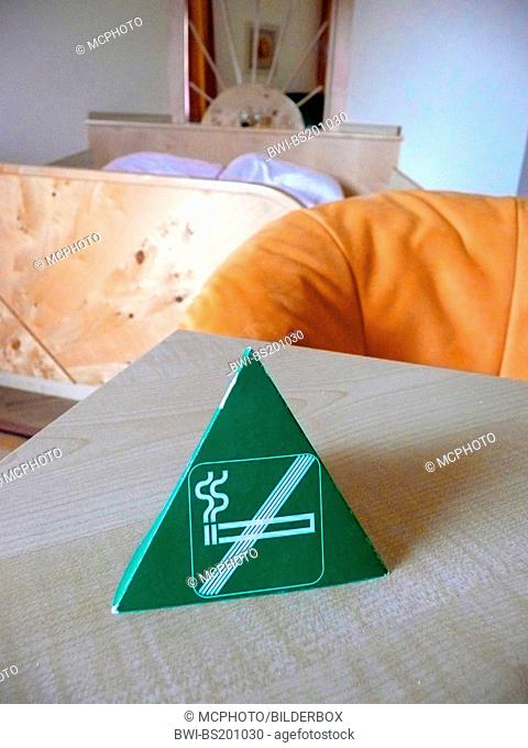 nonsmoker sign in a hotel room