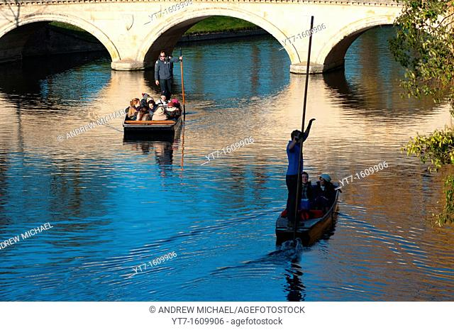 Punting silhouette on river Cam, Cambridge England