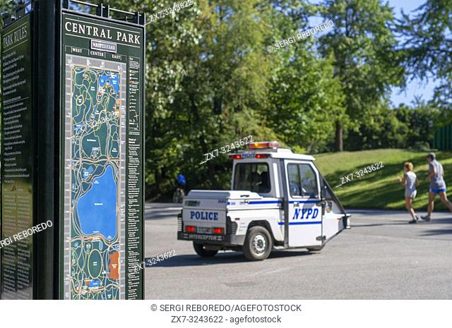 Police vehicle in Central Park NYC, Manhattan, New York, United States. The Go-4 Interceptor II from the NYPD you can spot on nearly every block in Manhattan