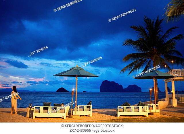 Restaurant on the beach in Anantara Si Kao Resort & Spa, south of Krabi, Thailand. Located on the soft white sands of Changlang Beach