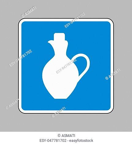 Amphora sign illustration. White icon on blue sign as background