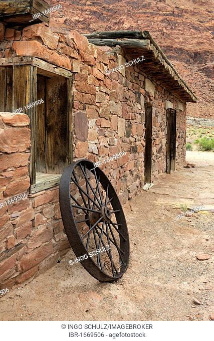Old iron wagon wheel at Lee's Fort from 1880, Lee's Ferry, Arizona, USA