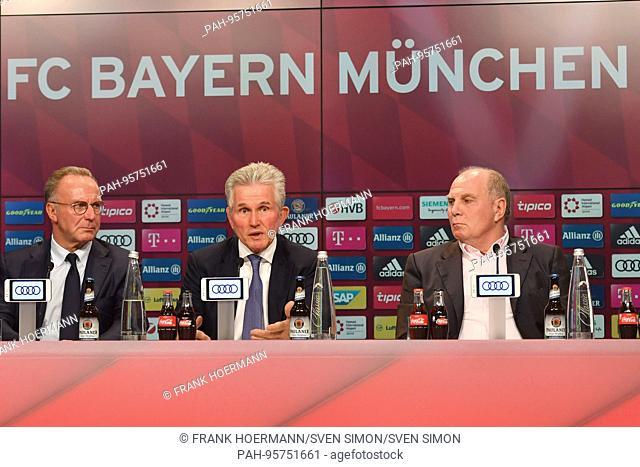 v.li:Karl Heinz RUMMENIGGE, (Managementsvorsitzender),Jupp HEYNCKES (Trainer FC Bayern Munich) ,Uli HOENESS (Honess,Praesident FC Bayern Munich)
