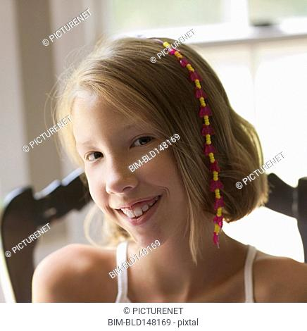 Caucasian girl with hair decoration