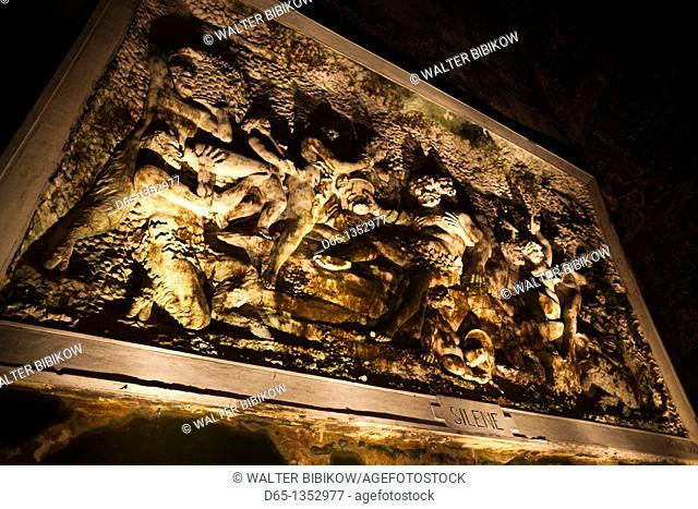 France, Marne, Champagne Ardenne, Reims, Pommery champagne winery, artwork in champagne cellars