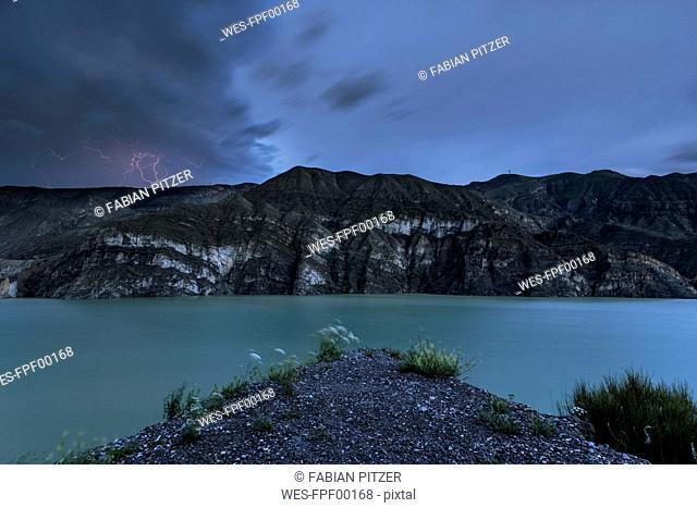 Europe, Turkey, Erzurum, Uzundere, Tortum Dam, lightning
