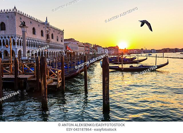 Doge's Palace and gondolas nearby at sunset, Venice, Italy