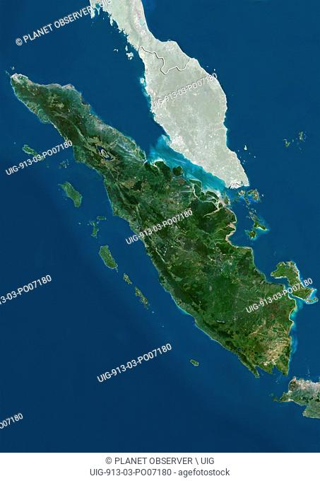 Satellite view of Sumatra, Indonesia (with country boundaries and mask). This image was compiled from data acquired by Landsat satellites