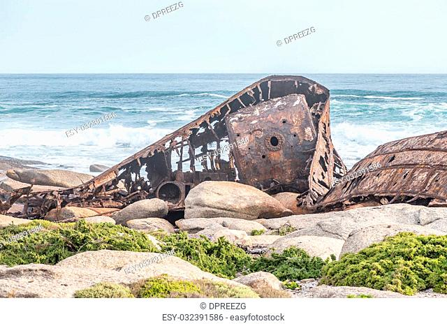 The wreck of the Aristea, a fishing trawler that ran aground on 4th July 1945 at Hondklipbaai on the South African Atlantic coast