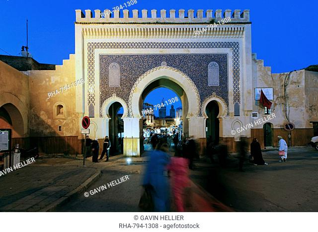 Blue tiled archway of the Bab Bou Jeloud city gate to medina, Fez, Middle Atlas, Morocco, Africa