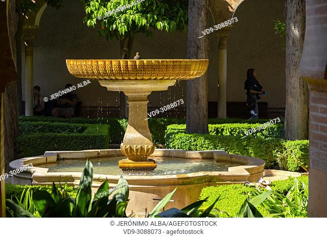 Gardens & fountains. El Partal, Nazaries palaces. Alhambra, UNESCO World Heritage Site. Granada City. Andalusia, Southern Spain Europe