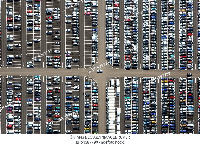 Aerial photograph, new car parking lot, Citroen, Peugeot, Ford, colourful rows of cars, Wallenius Wilhelmsen Logistics, Zülpich, Rhineland