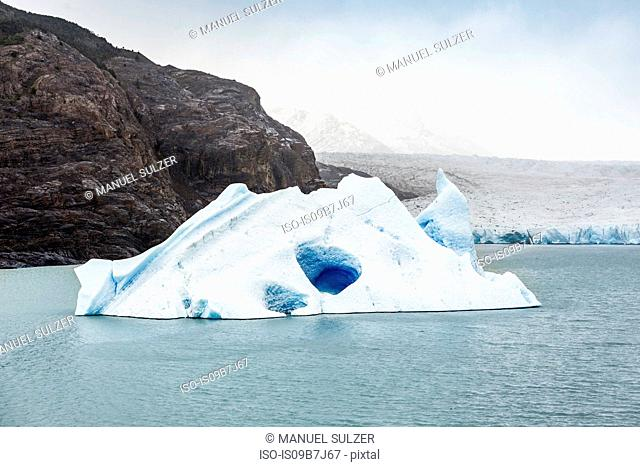 Grey glacier iceberg floating in lake, Torres del Paine National Park, Chile