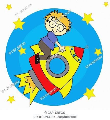 Child flying a rocket