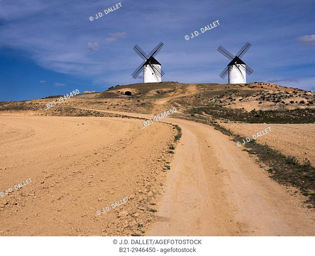Spain, Castile-La Mancha, Province of Ciudad Real, the famed Don Quixote's Windmills at Tembleque