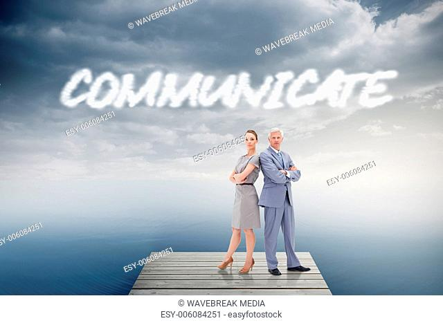 Communicate against cloudy sky over ocean