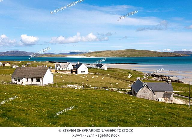 Europe, UK, Scotland, Outer Hebrides - the settlement of Eoligarry on the island of Barra with Fuday in the background