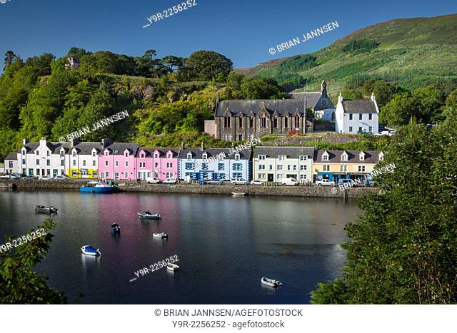 Small town of Portree on the Isle of Skye, Scotland