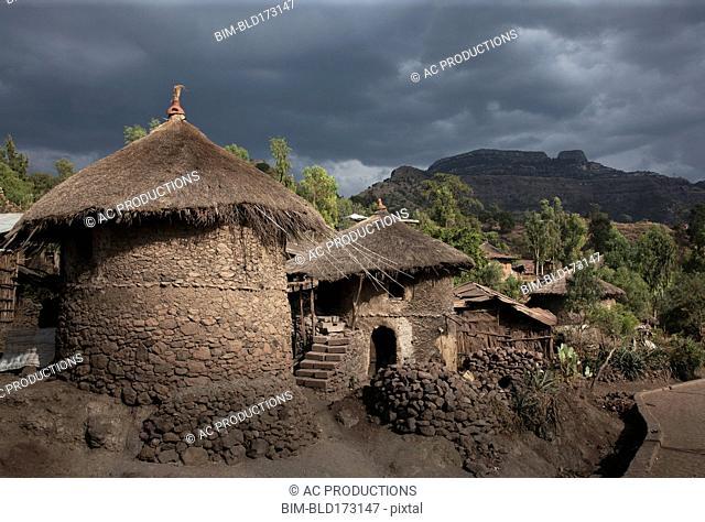 Village huts on remote hillside