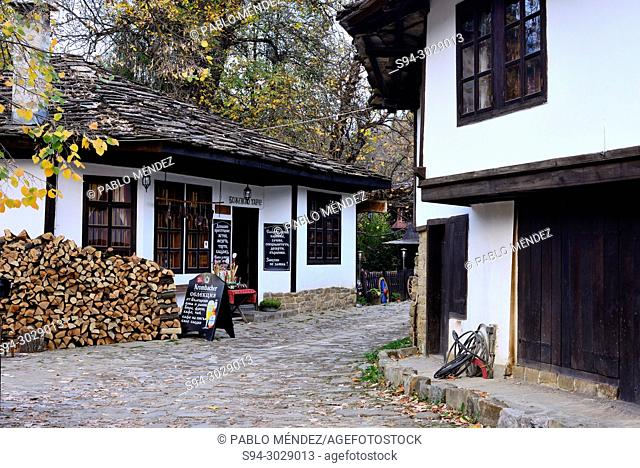 Traditional houses and street of Bojentsi, Bulgaria