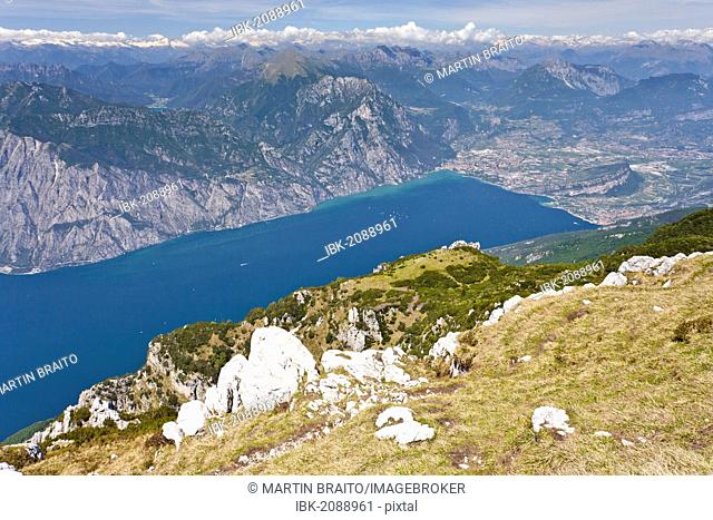 View from Monte Altissimo above Nago overlooking Lake Garda and Arco, Trentino, Italy, Europe