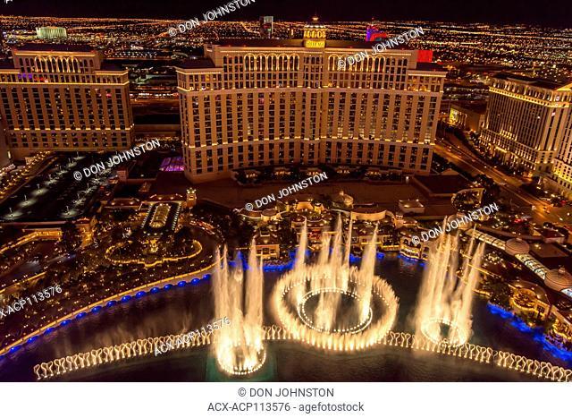 Las Vegas at night from the Paris Casino resort hotel Eiffel Tower, Las Vegas, Nevada, USA