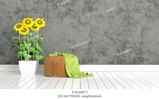 Beautiful modern interior with sunflowers. 3D rendering