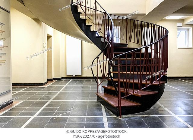 Barlin, Germany. Circular staircase on the top floor of the Stasi Museum and former Head Quarters