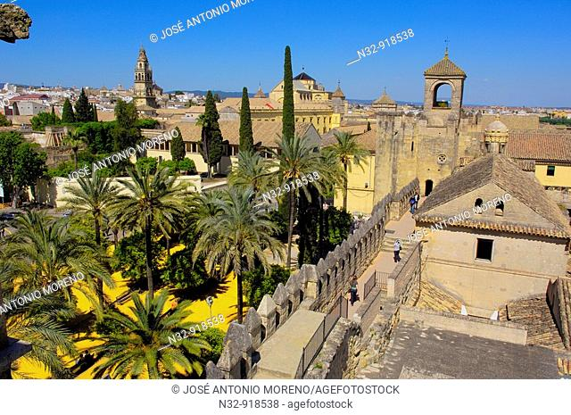 Alcazar of the Christian Kings and minaret tower of the Great Mosque, Cordoba. Andalusia, Spain