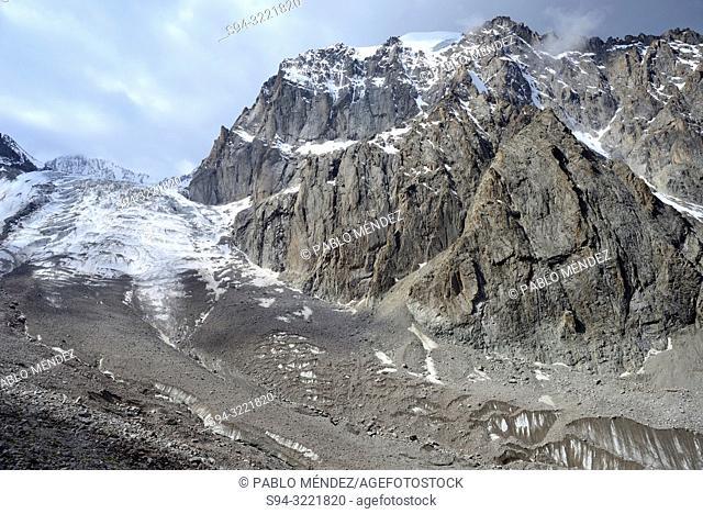 Ak Sai glacier. Razeeka mountains, Ala-Archa National Park, Kyrgyzstan