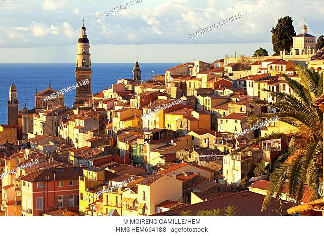 France, Alpes Maritimes, Menton, old city, Basilica Saint Michel