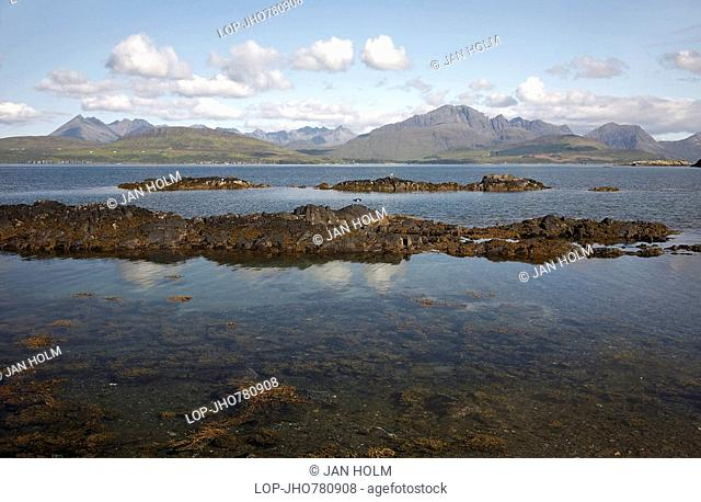 Scotland, Highland, Tokavaig, The Cuillin mountains viewed across Loch Eishort, a sea loch on the coast of Skye