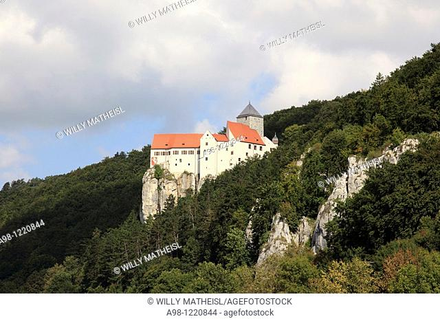 castle Prunn high above the river Altmuehl, Bavaria, Germany, Europe