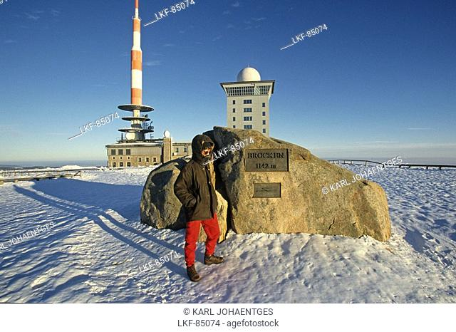 Brocken mountain, summit, Harz Mountains, Lower Saxony, northern Germany, steam engine, winter, Brockenbah